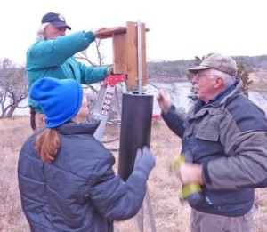 Installing the boxes at the Nature Center. (Courtesy of Phil Wyde)