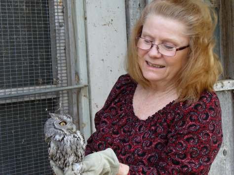 Arlene and our new owl. (Courtesy of Billy Huston)