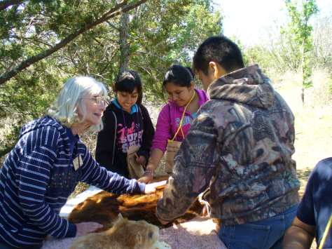 Learning about how a beaver fur protects them in and out of the water. (Courtesy of Paula Richards)